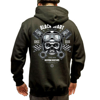 mikina pánská BLACK HEART - Piston Skull - BLK - 003-0004-BLK