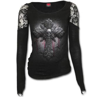 tričko dámské s dlouhým rukávem SPIRAL - CRUCIFIX - Black - D071F443