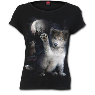 tričko dámské SPIRAL - WOLF PUPPY - Black - F032F744
