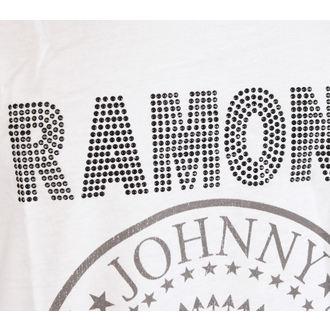 tílko pánské RAMONES - LOGO SILVER DIAMANTE - WHITE - AMPLIFIED