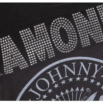 tričko dámské RAMONES - LOGO SILVER DIAMANTE - CHARCOAL - AMPLIFIED, AMPLIFIED, Ramones