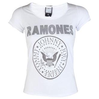 tričko dámské RAMONES - LOGO DIAMANTE - WHITE - AMPLIFIED, AMPLIFIED, Ramones