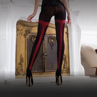 punčocháče LEGWEAR - charley opaque - black with red seam, LEGWEAR