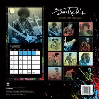 kalendář Jimi Hendrix 2017, PYRAMID POSTERS, Jimi Hendrix