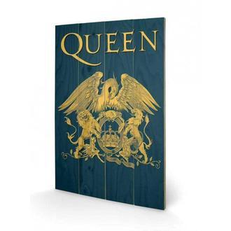 dřevěný obraz Queen - Crest, PYRAMID POSTERS, Queen