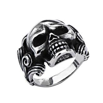 prsten INOX - SKULL W/WIRE SIDE