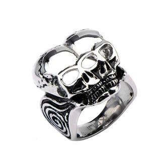 prsten INOX - BLK CONJOIND TWN SKUL, INOX