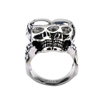prsten INOX - BLK CONJOIND TWN SKUL