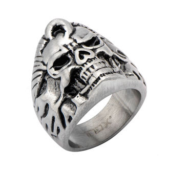 prsten INOX - BLK FLAME SKULL, INOX