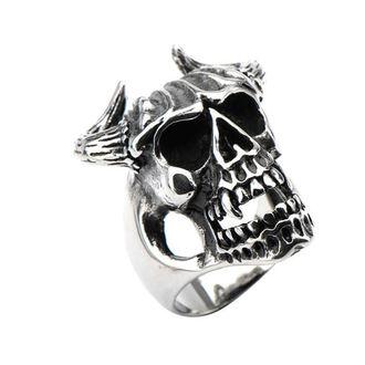 prsten INOX - SKULL W/BULL HORNS, INOX