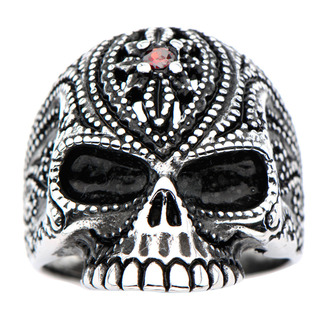 prsten INOX - BLK RED GEM SUGAR SKLL