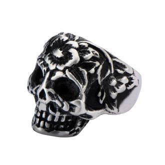 prsten INOX - BLK FLOWER SKULL HEAD, INOX