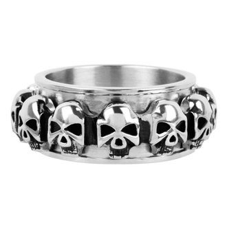 prsten INOX - skulls around - FR1046