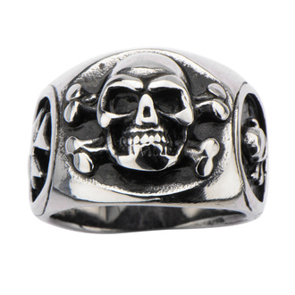 prsten INOX - SKULL BACK CROSS BONE, INOX