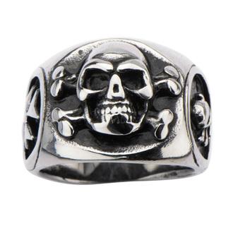 prsten INOX - SKULL BACK CROSS BONE