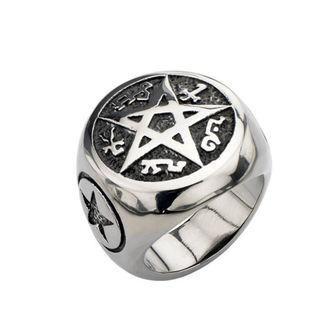 prsten INOX - BLK PENTAGRAM - FR106