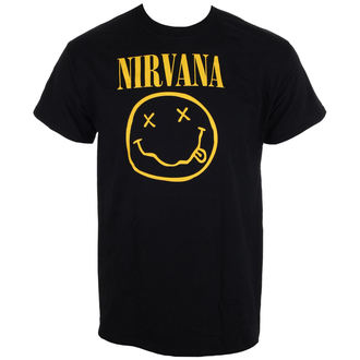 tričko pánské Nirvana - Smiley Logo - Black - LIVE NATION, LIVE NATION, Nirvana