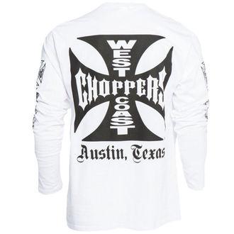 tričko pánské s dlouhým rukávem West Coast Choppers - WCC OG CROSS LONG SLEEVE - WHITE - WCCLS001WT