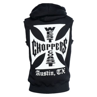 vesta pánská West Coast Choppers - IRON CROSS SLEEVELESS HOODY - BLACK