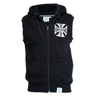 vesta pánská West Coast Choppers - IRON CROSS SLEEVELESS HOODY - BLACK, West Coast Choppers