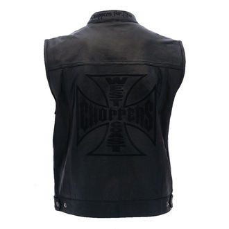 vesta pánská West Coast Choppers - OG CROSS LEATHER RIDING - BLACK, West Coast Choppers