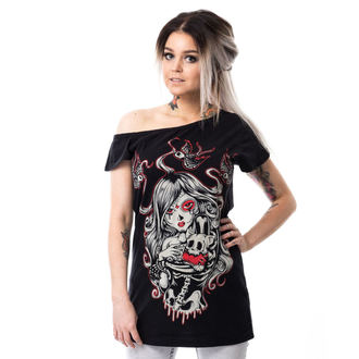 tričko dámské (tunika) Vixxsin - CAT MUERTE OFF SHOULDER - BLACK - POI307
