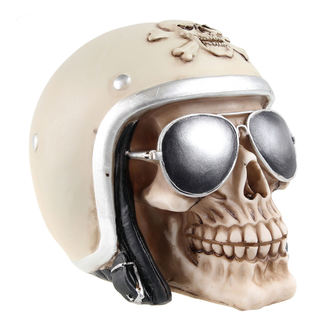 dekorace (pokladnička) Skull with motorcycle helmet & sunglasses - 78/5735