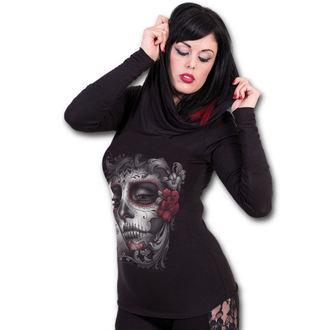 tričko dámské s dlouhým rukávem SPIRAL - SKULL ROSES - Black
