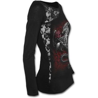tričko dámské s dlouhým rukávem SPIRAL - DRAGON ROSE - Black, SPIRAL