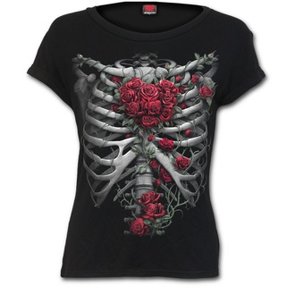 tričko dámské SPIRAL - ROSE BONES - Black, SPIRAL