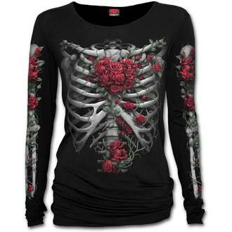tričko dámské SPIRAL - ROSE BONES - Baggy - Black, SPIRAL