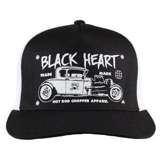 kšiltovka BLACK HEART - HOT ROD CROSS - WHITE, BLACK HEART