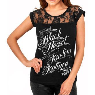 tričko dámské BLACK HEART - KUSTOM KULTURE - BLACK, BLACK HEART