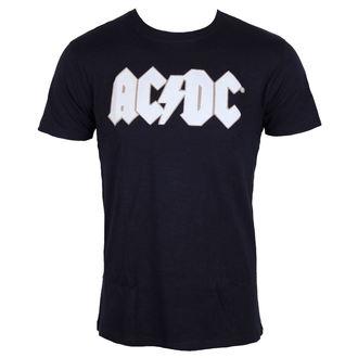 tričko pánské AC/DC - Logo & Angus Applique Slub - Navy - ROCK OFF, ROCK OFF, AC-DC