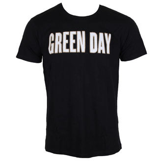 tričko pánské Green Day - Logo & Grenade Applique Slub - Black - ROCK OFF - GDAPSLUB01MB