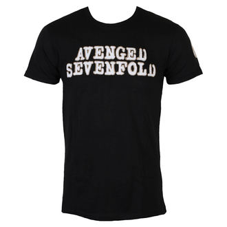 tričko pánské Avenged Sevenfold - Logo & Deathbat Applique - Black - ROCK OFF - ASAPSLUB01MB