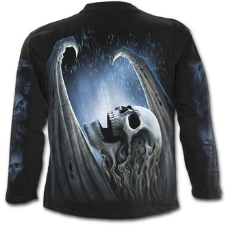 tričko pánské s dlouhým rukávem SPIRAL - WINGED SKELTON - Black, SPIRAL