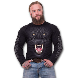 tričko pánské s dlouhým rukávem SPIRAL - TRIBAL PANTHER - Black