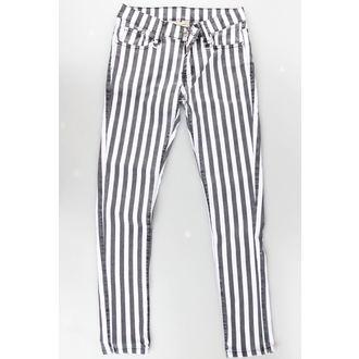 kalhoty dámské BANNED - Stripe Skinny - White - POŠKOZENÉ, BANNED