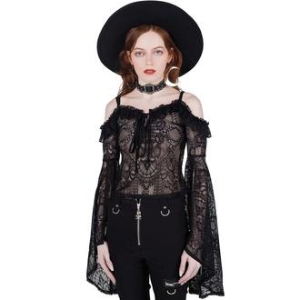 tričko dámské s dlouhým rukávem (top) KILLSTAR - Breathless Lace Bardot - BLACK, KILLSTAR