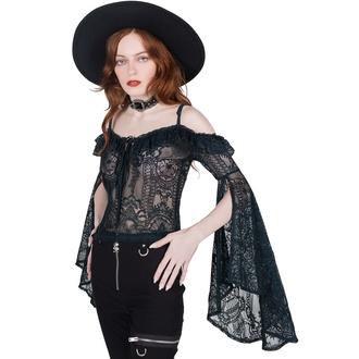 tričko dámské s dlouhým rukávem (top) KILLSTAR - Breathless Lace Bardot - EMERALD, KILLSTAR