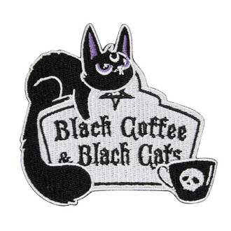 nažehlovačka (nášivka) KILLSTAR - Coffee & Cats - Black, KILLSTAR