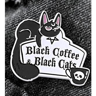 připínáček KILLSTAR - Coffee & Cats - Silver, KILLSTAR