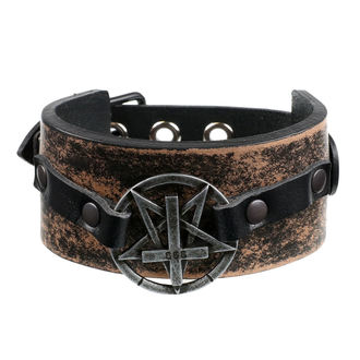 náramek Pentagram Cross - brown, JM LEATHER