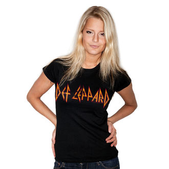 tričko dámské Def Leppard - Distressed - Logo - Black - HYBRIS, HYBRIS, Def Leppard