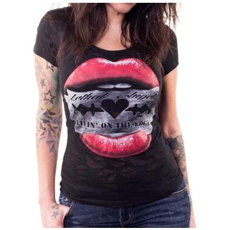 tričko dámské LETHAL THREAT - RAZOR LIPS - BLACK SCOOP, LETHAL THREAT