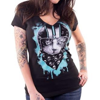 tričko dámské LETHAL THREAT - ANGEL BIKER CAT - BLACK, LETHAL THREAT