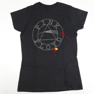 tričko dámské Pink Floyd - Circle Logo Diamante - Blk - ROCK OFF - POŠKOZENÉ, ROCK OFF, Pink Floyd