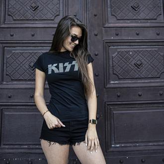 tričko dámské Kiss - Logo Diamante - ROCK OFF, ROCK OFF, Kiss