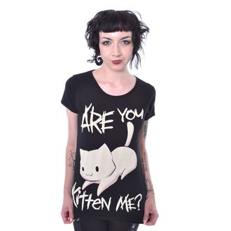 tričko dámské Cupcake Cult - KITTEN ME - BLACK, CUPCAKE CULT